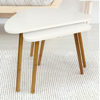 NEW Scandinavian Nesting Tables White w/ Wooden Leg Modern Side Tables Set of 2