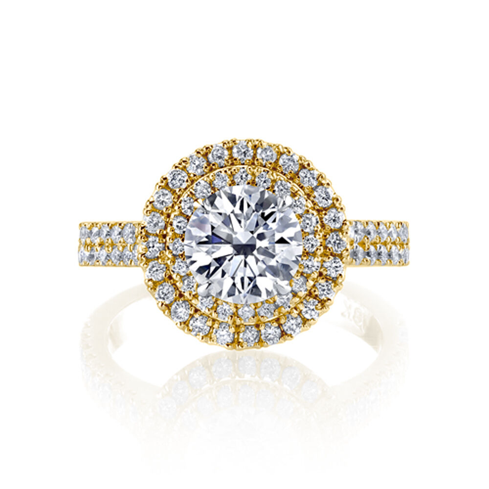 2.00ctw Natural Round Double Halo 2 Row Pave Diamond Engagement Ring - GIA  2