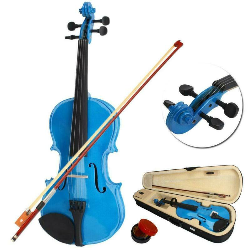 4/4 Size Acoustic Violin Fiddle with Case Bow Rosin for Student Adult Dark Blue