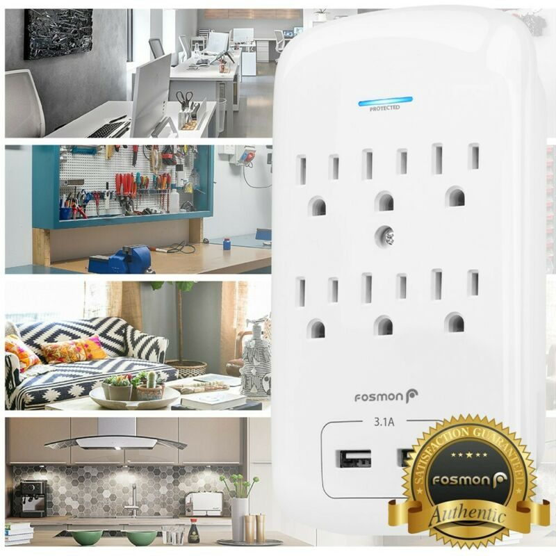 6 Outlet Surge Protector With 2 USB Charger Ports Wall Adapter Tap [ETL listed]