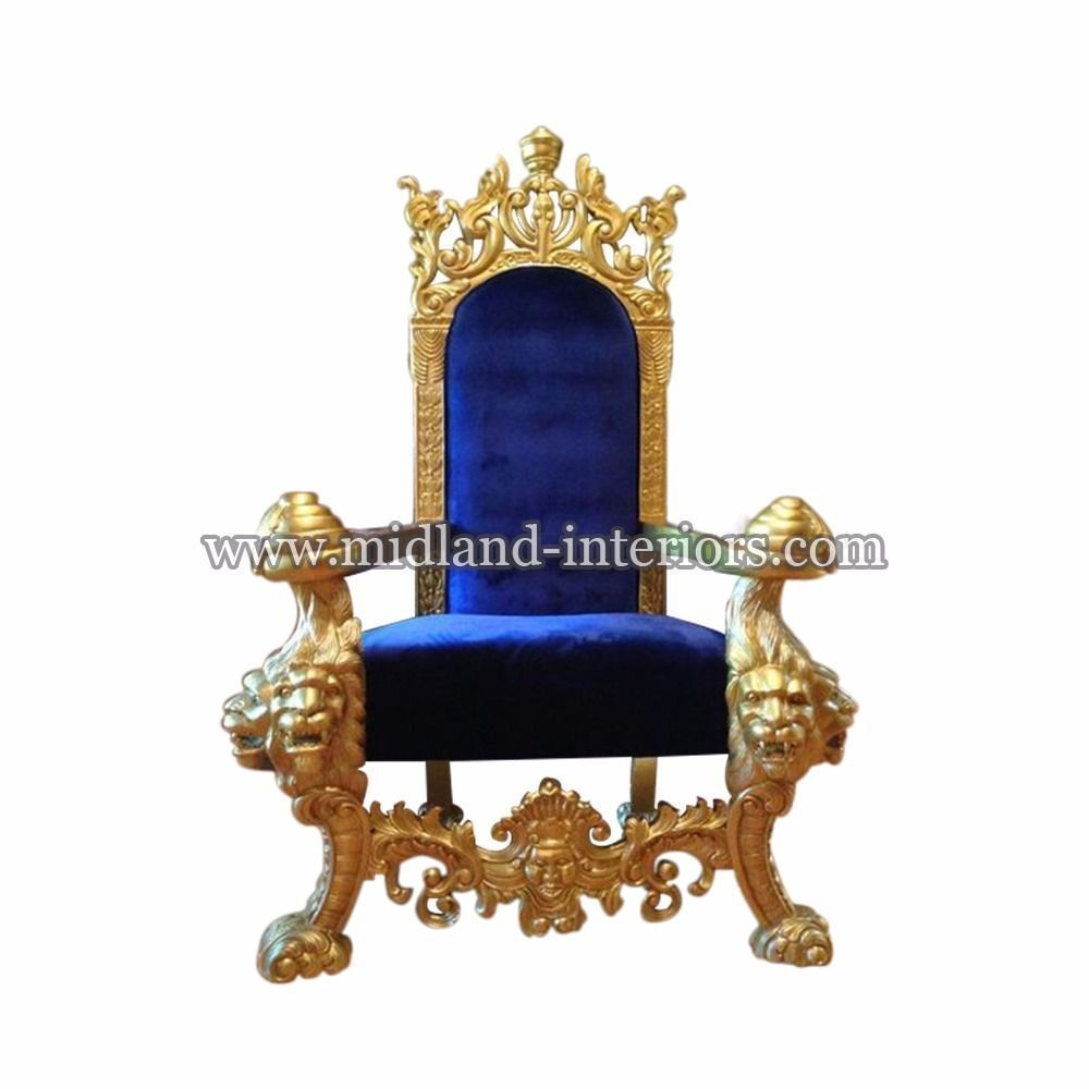 NEW Tiger King Throne Chair   Gold U0026 Blue   Luxury French Italian Wedding  Gothic Antique