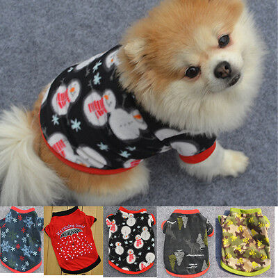 Christmas Pet Puppy Dog Cute Winter Warm Pullover High-GradeT-Shirt Clothes S - Pet Christmas Clothes
