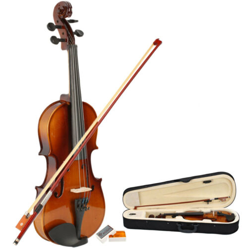 New Music Profession Acoustic Violin 3/4 Full Size Natural  + Case + Rosin + Bow