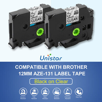 2pk Tz131 Tze131 Compatible For Brother P-touch Label Maker Tape Clear Pt-d200
