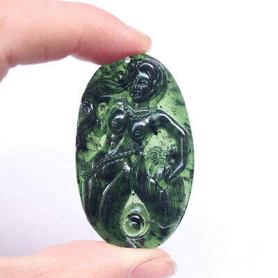 Chinese Natural Green Jade Jadeite Hand-Carved Cicada Pendant Exquisite Gift ♫