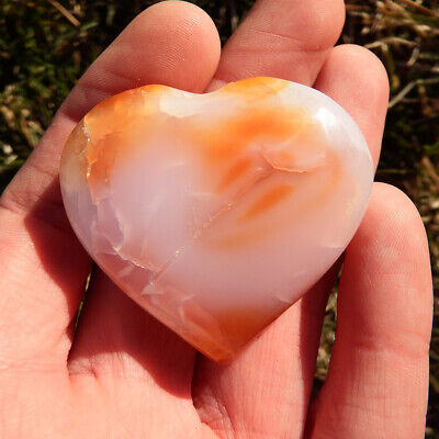 Carnelian Heart Crystal love point Natural raw Cab healing 43g cluster red