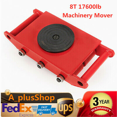 Red 8t 17600lb Heavy Duty Machine Dolly Skate Roller Machinery Mover 360 Cap