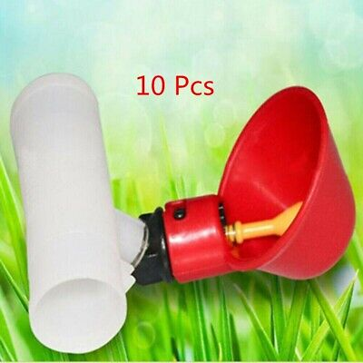 10 Pcs Poultry Water Drinking Cups Pipe Fitting Chicken Automatic Drinker Coop