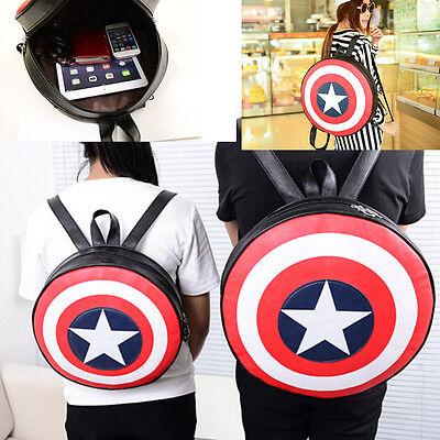 Unique Boys Girls Captain America Shield Student Backpack Book School Bag Round - Captain America Purse