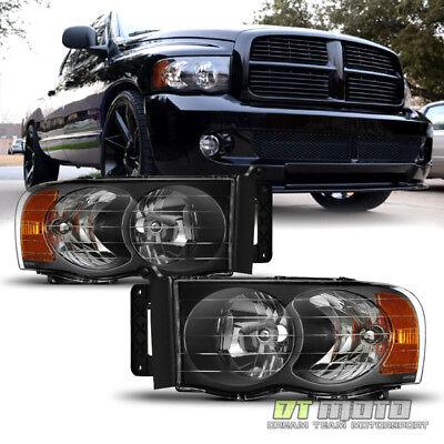 2002 2003 2004 2005 Dodge Ram 1500 2500 3500 Black Headlights Headlamps Set L+R