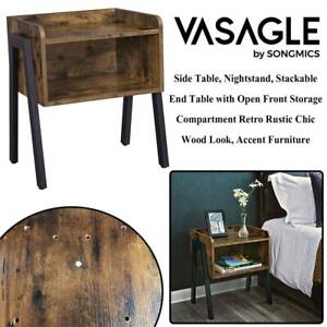 NEW VASAGLE Side Table, Nightstand, Stackable End Table with Open Front Storage Compartment, Retro Rustic Chic Wood L...