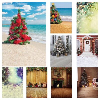 Christmas Scene Backdrop (Merry Christmas Tree Xmas Scene Background Photography Prop Studio Backdrop)