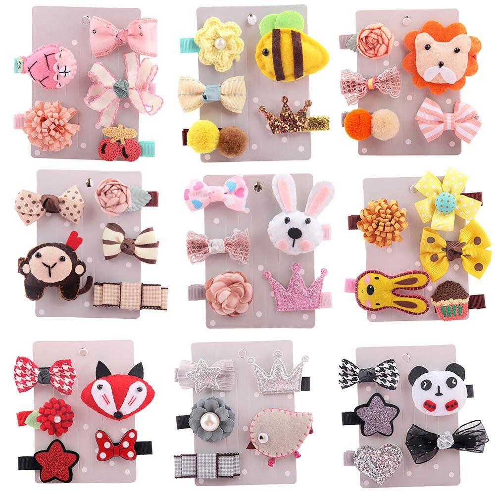 5Pcs Kids Toddler Cute Hairpin Baby Girl Cartoon Animal Moti