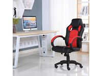 BRAND NEW SPORTS RACING GAMING OFFICE COMPUTER LEATHER CHAIR BLACK & RED