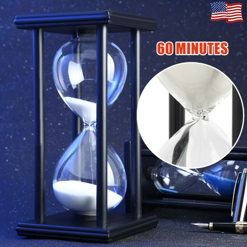 Wooden Sandglass Sand Hourglass 60 Minutes Countdown Timer C