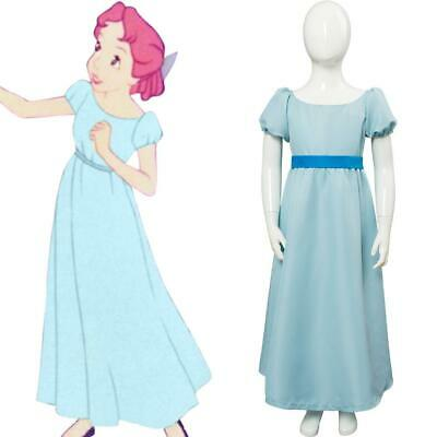 Wendy Costume Child (Kids Girl PeterPan Peter Pan Wendy Darling Cosplay Costume Long Dress)