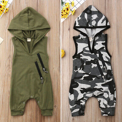 US Summer Newborn Infant Baby Boy Hooded Camo Romper Jumpsuit Outfits Clothes