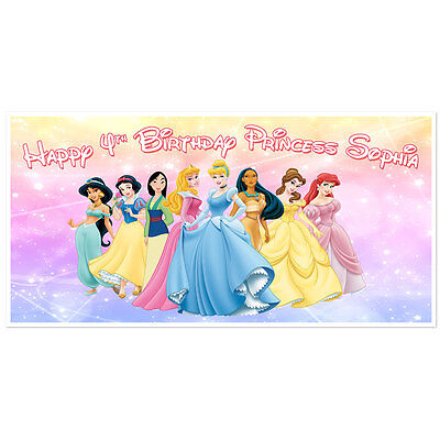 Disney Princess Birthday Banner Personalized Party Backdrop - Princess Birthday Banner