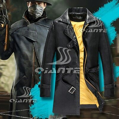 Watch Dogs Aiden Pearce Black Jacket Coat Cosplay Costume Halloween Quality New