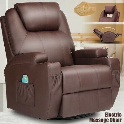 Electric Body Massage Chair Recliner Ergonomic Lounge Swivel Heated Sofa w/ RC