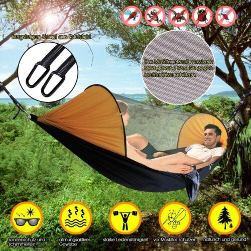 Ultraleichte Camping Hängematte mit Zipper Moskitonetz Outdoor Hammock 250x120CM