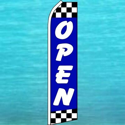 Open Flutter Flag Blue Checkers Auto Repair Advertising Feather Swooper Banner