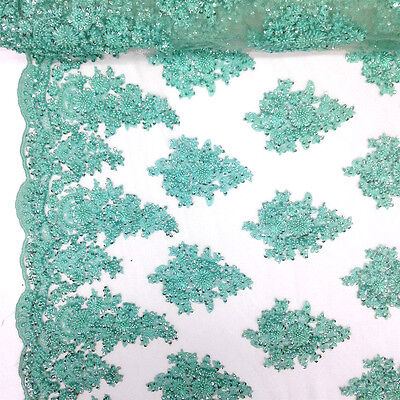 Mint Bridal Spruce floral Lace Sequins Beaded Scallop Fabric for Dresses 52