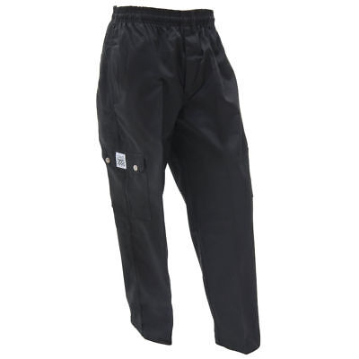 Chef Revival Black Poly Cotton Mens Baggy Cargo Chef Pants - Medium