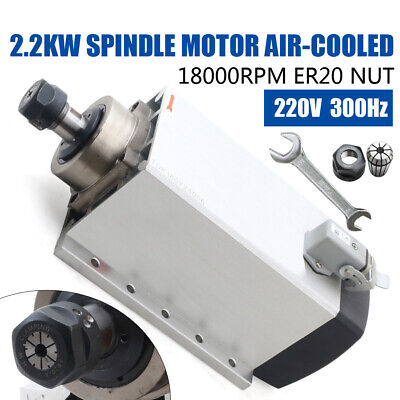 Square 2.2kw Er20 Air Cooled Spindle Motor 4 Bearing 18000rpm For Cnc Routerus