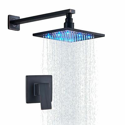 Bath Shower Faucet Set 8'' Rain Mixer Tap LED Rain Head Oil Rubbed Bronze Brass Bath Shower Faucet