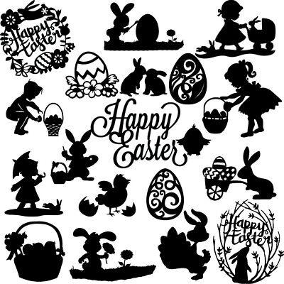 Die Cut Out Silhouette Easter shape set Bunny eggs scrapbook Fairy jar