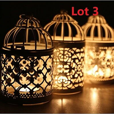 3X Bird Cage Hollow Candle Holder Tealight Candlestick Hanging Lantern Decor
