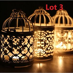 3X Bird Cage Hollow Candle Holder Tealight Candlestick Hanging Lantern Decor