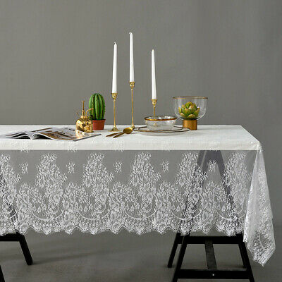 Rectangle Square Table Cover Lace Cloth Tablecloth Home Party Wedding Decor - White Rectangle Tablecloth