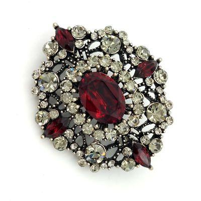 Edwardian Antique Foliate Filigree Dark Red Oval Stone Dome Art Deco Brooch Pins