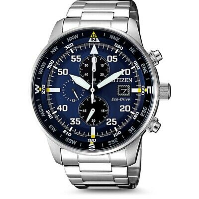 CITIZEN CA0690-88L Eco-Drive Chronograph Blue Dial Stainless Steel Mens Watch