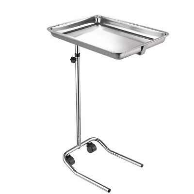 Rolling Mayo Stand Stainless Steel Tray Trolley Medical Salon Equipment Tattoo