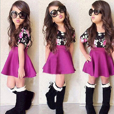 Floral Toddler Baby Kid Girl Short Sleeve Tops T-Shirt+Skirt Outfits Set Clothes