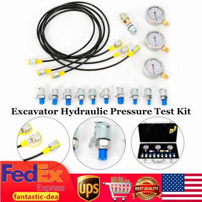 Excavator Hydraulic Pressure Test Kit 10 Couplings 3 Pressure Gauge 3 Hose Case