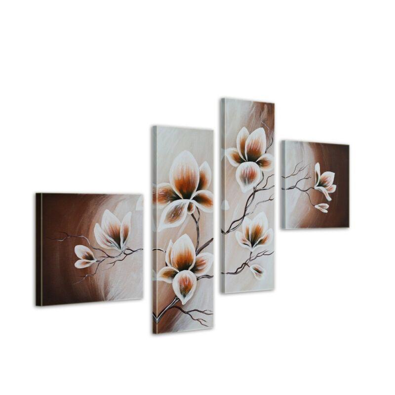 Magnolie+M7+-+Leinwandbild+4+teilig+100x70cm+Handgemalt