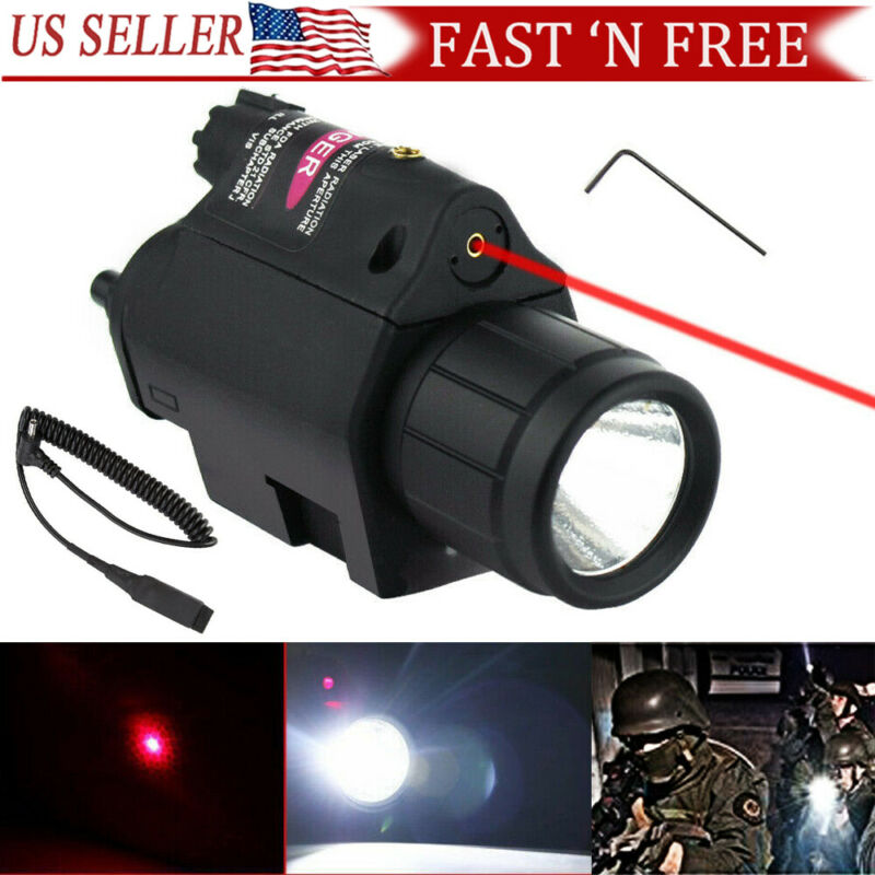 Tactical Red Laser Sight LED Flash Light Combo For rifle shot gun 20mm Rail
