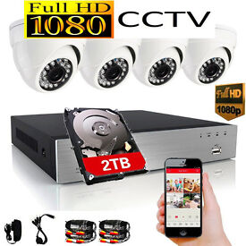 2TB 1080p Full HD CCTV Security Camera Kit. 4 x 1080p HD Cameras, 2TB 1080p HD DVR Recorder, cables.