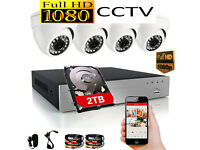 2TB 1080p Full HD CCTV Security Camera Kit. 4 x 1080p HD Cameras, 2TB 1080p HD DVR Recorder, cables.