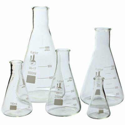 Glass Flask 5 Piece Set Narrow Mouth Erlenmeyer Borosilicate 3.3 Glass 213b2
