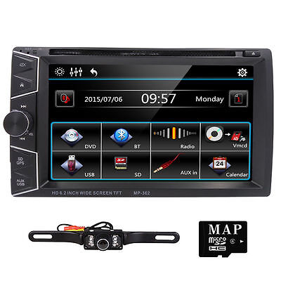 GPS Double 2 Din 6.2'' InDash Car DVD Player Radio Stereo Bluetooth iPod+Camera