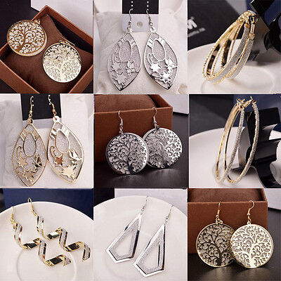 Elegant Women Lady Hook Earrings Crystal Ear Stud Dangle Hoops Jewelry Gifts