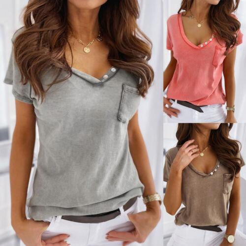 Damen V-Neck Shirt Kurzarm Oberteile Hemdbluse Blusenshirt Sommer Oberteile Top