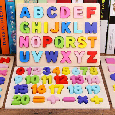 Wooden 3D Puzzles Alphabet ABC or Numbers 123 Child Preschool Learning Toy Kids