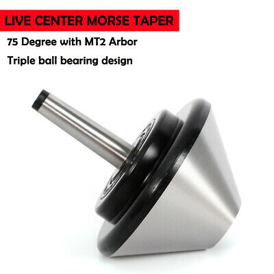 75 Mt2 Arbor Live Center Morse Taper Nose Tool Bit Triple Ball Bearing Design