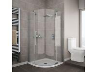 Frameless Hinge 900mm Quadrant Shower Door-£249.00